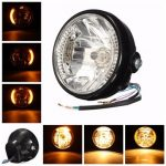 7inch H4 35W Motorcycle Headlight Amber LED Turn Signal Indicators For Harley Honda