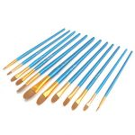 12 Pcs Nylon Hair Acrylic Watercolor Round Pointed Tip Artists Paint Brush Set