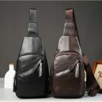 Genuine Leather Crossbody Bag Solid Casual Shoulder Bag Chest Bag For Men