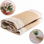 30x180cm Natural Vintage Burlap Lace Table Runner Elegance Chair Yarn Chrismas Party Decor