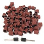 "100pcs 3/8"" Inch Sanding Kit 120 Grit Sanding Sleeves with 2 Rubber Mandrels for Dremel"