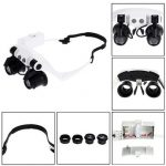 Portable Head Wearing Magnifying Glass 10X 15X 20X 25X LED Double Eye Repair Magnifier Loupe