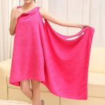 Women Cozy Soft Solid Color Thicken Home Dress Water Absorbent Fiber Bath Dress Towel Bathrobe