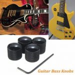 4pcs Black Metal Dome Style Electric Guitar Bass Knobs with Wrench