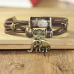 Vintage Brown Multilayer Elephant Animal Lover Bracelet Gift Souvenir Jewelry