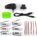 6X Eachine 3.7V 200mah 30C Lipo Battery With Charger for Blade Inductrix Tiny Whoop RC Quadcopter