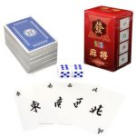 Portable Mah Jong 144 Paper MahJong Chinese Playing Cards Game Travel Set With Dice