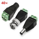Excellway ST02 40Pcs BNC Terminal Connector DC 5.5×2.1mm Male/Female Connector