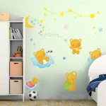 Kids Bedroom Background Decoration Bear Moon Lovely Kids Wall Stickers