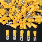 Yellow 12-10AWG Insulating Female Spade Terminal Electrical Crimp Wire Connectors