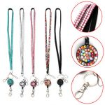 Neck Rhinestone Crystal Lanyard Retractable Strap ID Badge Reel Key Holder For iPhone Sumsang