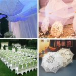 "21""Women Bride Cotton Lace Embroidery Hollow Out Umbrella Parasol Wedding Prop Decoration"