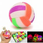 1pcs Flashing PU Rubber Stress Reliever Squeeze Sound Ball Kid Toy