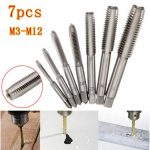7pcs M3 to M12 Metric HSS Right Hand Thread Tap Set Metric Plug Tap Drill Bits
