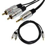 1.5m 5ft Premium 3.5mm Stereo Male To 2 RCA Male Music Jack Audio OFC Cable