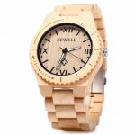 Bewell ZS-W065A Men Wooden Watch Simple Fashion Roman Numeral Scales Quartz Wristwatch