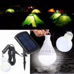 Portable Solar Panel Power Sensor LED Bulb Light Outdoor Camp Tent Fishing Lamp