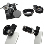 3 in 1 Camera Lens 12X Optical Zoom Telescope 0.45X Wide Angle Lens Macro Lens for iPhone Samsung