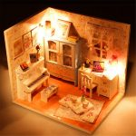Hoomeda DIY Wood Dollhouse Miniature With LED Furniture Cover Doll House Room