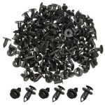 100Pcs 8mm Car Hole Plastic Rivets Bumper Fastener Push Fastener Clip Fender Black