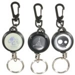 Retractable Pull Chain Key Chain Ring Badge Reel ID Card Holder With Belt Clip Steel Wire 60cm
