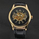 FORSINING Casual Gold Case Leather Band Mechanical Wrist Watch