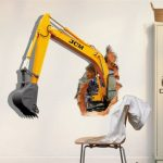 3D Excavator Wall Decals Removable Excavating Machine Wall Stickers Home Wall Decor