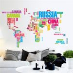 140X85CM Colorful World Map Wall Stickers Large English Alphabet Removable Decal